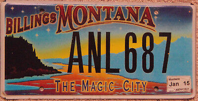 USED MONTANA BILLINGS The Magic City Specialty License Plate ANL687 With Tab
