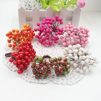 40 Heads Berry Bacca Artificial Flower Bouquet Bunch Home Party Decoration
