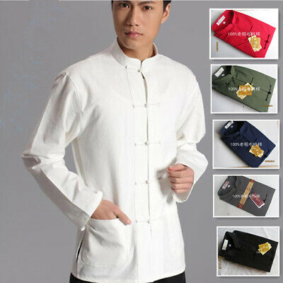 fef648653 Chinese Kung Fu Mens Tang Shirt Suits Cotton Linen Tai Chi Uniform Costume  Coat