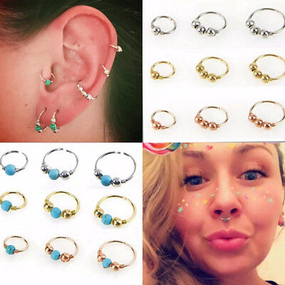Unisex Silver Gold Thin Beads Nose Ring Hoop Fake Body Piercing Jewelery