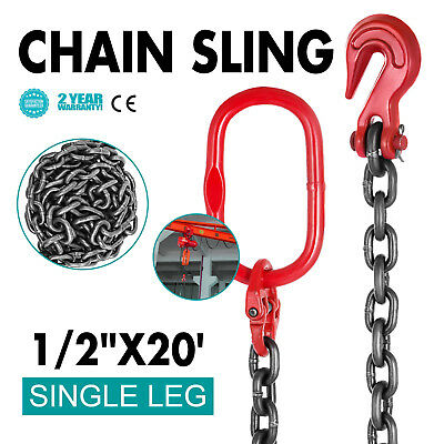"1/2"" x20' Grade 80 Chain Sling 6m/20ft Steel Factories Corrosion Resistance"