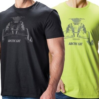 Arctic Cat Men's Ghost Relaxed Fit Ring Spun Cotton T-Shirt - Black Lime Green