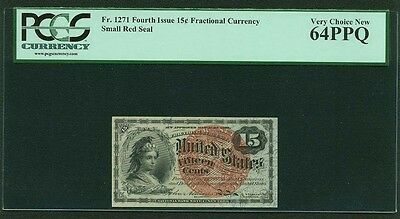 """1869-75  15 Cents Fractional Currency Fr-1271 Certified Pcgs """"choice New-64-Ppq"""