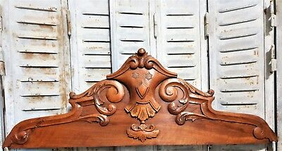 Architectural scroll leaves pediment Antique french wood carving crowned crest