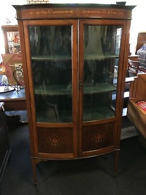 Antique 20th Century Bow Fronted Glass Mahogany Inlaid Edwardian Display Cabinet