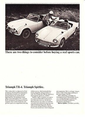 "1965 Triumph TR-4 & Spitfire photo ""Two Things to Consider"" promo print ad"