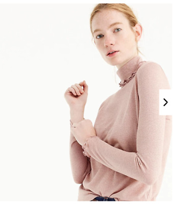 NWT J Crew Blush Gold Pink Metallic Ribbed Turtleneck Lightweight Sz M Ruffle