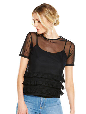 V by Very Mesh Frill Top