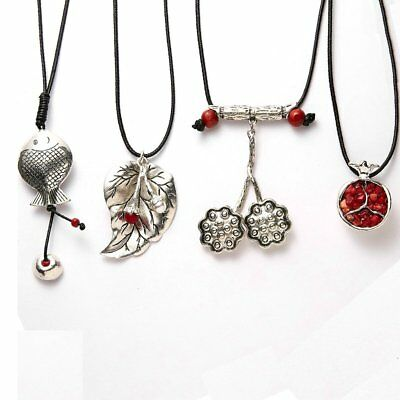 Vintage Ethnic Sliver Fish Leaf Pendant Necklace Sweater Chain Women Jewelry Hot