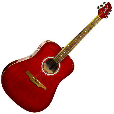 Guvnor GA300RD Acoustic Dreadnought Guitar High Gloss Red Finish - RRP £109