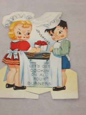 Vintage Mechanical Valentine A-Meri-Card 1940s Girl Boy Chef Cooking Old Stove