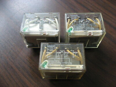 Lot of 3 Omron LY4N-D2 Cube Relays  (14 Pin Square ) 24VDC