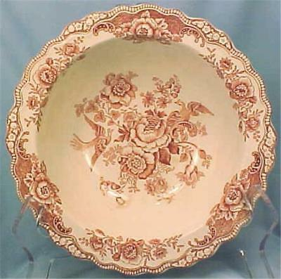 Crown Ducal Bristol Serving Bowl Pink Transferware Vintage Vegetable Round (O)