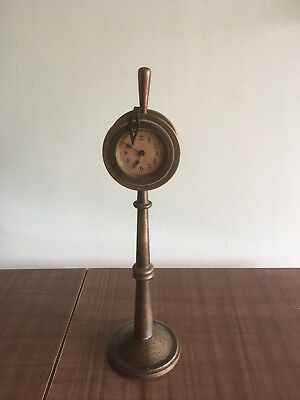 Vintage Antique Brass Small Ships Clock on Stand Spares or Repair Very Unsual