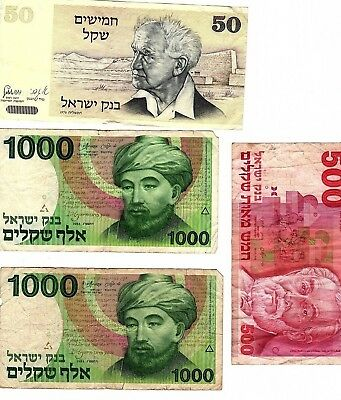 ISRAEL Lot of 4, 50 + 500 + 1000 x 2 SHEQALIM, USED BANKNOTE BILL