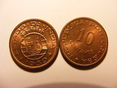 Portuguse India 1959, 10 Centavos, KM#30,  UNCIRCULATED