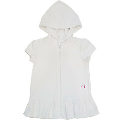 NEW Toddler Girls Healthtex White Terry Hooded Zip Up Swim Cover Size 5T