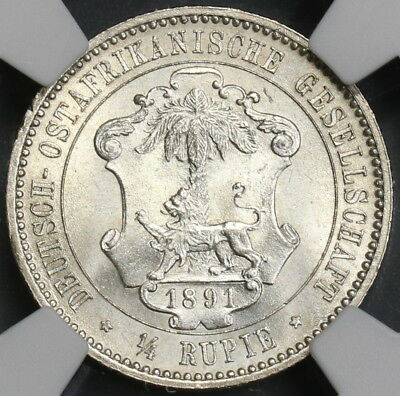 1891 NGC MS 64 German East Africa 1/4 Rupie Silver Lion Coin 77K (18082601D)
