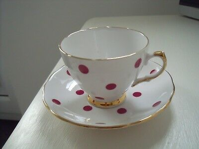 Royal Vale Red Polka Dot Cup and Saucer  ~ c1962