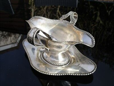 Antique Silver Plated Sauce Boat with Tray by George Bowen & Son.