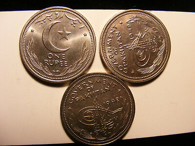Pakistan 1948 1 Rupee, Uncirculated, Small Dealers Lot of 3 Coins