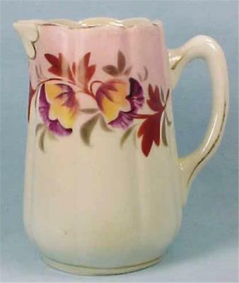 Antique Porcelain Creamer Purple Flowers on Pink Cream Pitcher Pretty