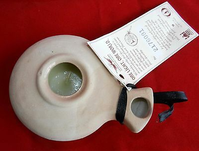 Biblical Classic Jerusalem Roman Oil lamp Clay Pottery Placed w Candle Inside Re