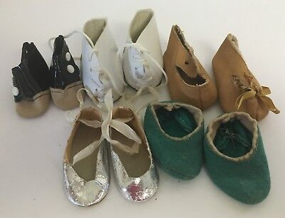 Vintage Lot Of 5 Pairs Assorted Doll Shoes