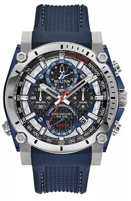 New Bulova Blue Silicon Precisionist Chronograph Men' s Latest Watch 98B315