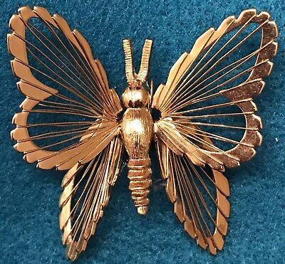 Vintage Gold Butterfly Brooch Wire Pin Estate Find Antique STAMPED Monet Signed
