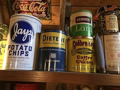 Antique Vintage Tins  Collection Lot Big Size Large Cans Only