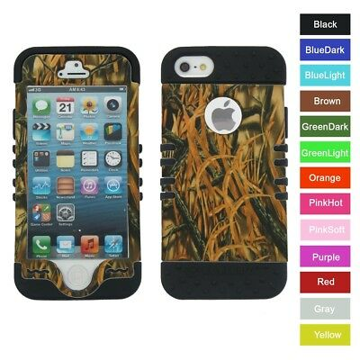 For iPhone SE 5S 5 Grass Blade Camo Hybrid ShockProof Rugged Armor Case Cover