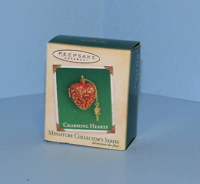 Hallmark Miniature Ornament 2004 Charming Hearts with Key #2 Series QXM5194