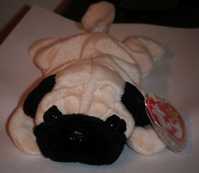 f374d213c11 TY BEANIE BABY ~ PUGSLY the Pug Dog ~ MINT with MINT TAGS ~ RETIRED ...