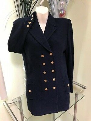 ST.JOHN Collection Marie Gray Navy Blue Santana Knit Jacket Gold Buttons Sz 4 NW