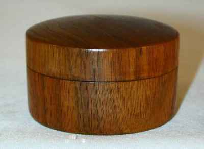 Two Small Turned Wood Items Round Box Lift-off Lid Bell Wooden Clapper A E Shupp