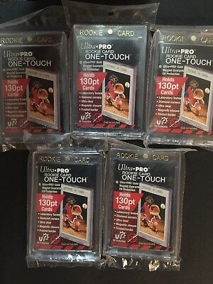 5 Ultra Pro One-Touch Rookie Card 130pt Magnetic Card Holders Thick Cards