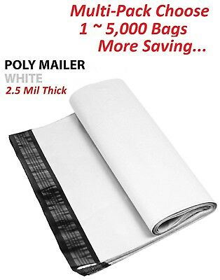 1-5000 Pack 7.5x10.5 White Poly Mailers Shipping Envelopes Self Sealing Bags