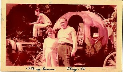 Old Antique Vintage Photograph Man & Woman Pumpkin Carriage Story Town 1956