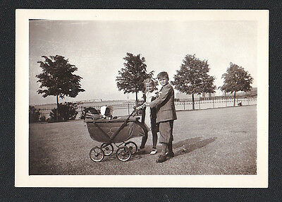 Old Antique Vintage Photograph Little Boy & Girl Walking Baby in Carriage