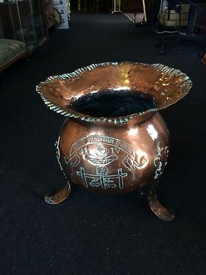 Antique Late 18th/Early 19th Century Copper Spitoon with Engraved Detail