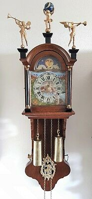 Clock Wall Warmink Wubba Dutch Friese Oak Vintage Era 8 Day Chain Driven BIM BAM