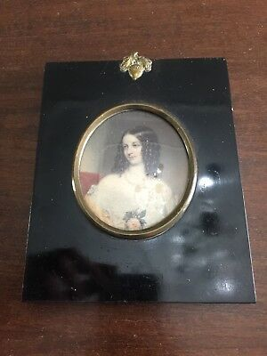 Rare Antique Victorian Or Georgian Acorn Framed Watercolour Miniature Painting