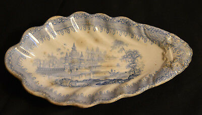 Ironstone Blue Transferware Shell Shaped Small Dish Spoon Rest Tray Antique 1850