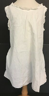 Vintage Girls White Cotton Full Slip Petticoat w/ Lace Ruffle Trim