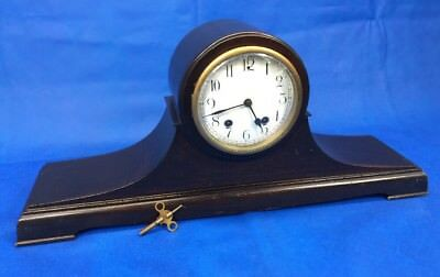 Antique New Haven Tambour No 6 Wind-Up Mantle Clock 8-Day Porcelain Dial