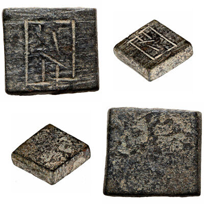 Intact Byzantine Bronze Carved Square Weight For 1 Solidus Circa 500-700 Ad