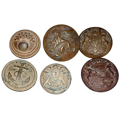 Lot Of 6 Military Uniforms Bronze Large Buttons Circa 1800 Ad