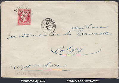 France Empire N°17A Oblit Pc 472 Bourg En Bresse Ain Sur Lettre Du 31/08/1860