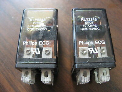 Lot of 2 Phillips ECG RLY2343 Cube Relays (8 Pin Square, 24 VDC Coil)